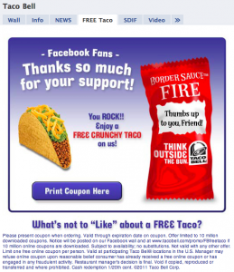Facebook Reveal Landing Page Free Taco Bell